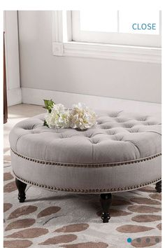 I Must Have A Round Tufted Ottoman Someday!Palfrey Beige Linen Modern  Tufted Ottoman On