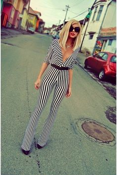 Discover this look wearing Black In Stripes Atelier Jaisse Rompers, Beige Baroc Prada Sunglasses - Retro Vibers on the streets by alinaceusan styled for Elegant, Casual Party in the Spring Dope Fashion, White Fashion, Fashion Brand, Fashion Beauty, Fashion Outfits, Womens Fashion, Fashion Design, Prada, Striped Jumpsuit
