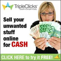 Join the biggest online garage sale. List your unwanted and old stuff and convert them to CASH. Sell online. MAKE MONEY WORKING AT HOME. No gimmicks. No pie in the sky. Proven, 18-year track record with 5 million Affiliates in 203 countries and 90,000  TripleClicks products. Join me now and become a TripleClicks member and a Business Owner. Register FREE and grab $100 Signing Bonus at http://www.sfi4.com/12240620.30/free.