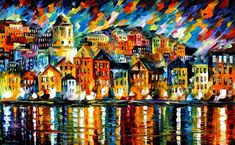 greece harbor - leonid afremov