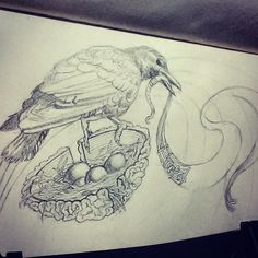Day3: I keep on laying eggs I can't hatch. #daily #pencils #doodleart #crow #surrealism #artBurp #toBeInked #365Days