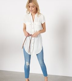 Belted Button-Up Tunic Muumuu, Got The Look, Material Girls, Casual Outfits, Casual Clothes, Beautiful Outfits, Spring Outfits, Button Up, Mom Jeans