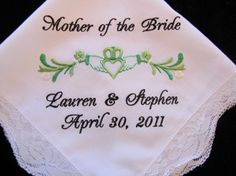 Personalized Claddagh Wedding Handkerchief for Bride, Bridal Party or Parent Gift on Etsy, $24.00