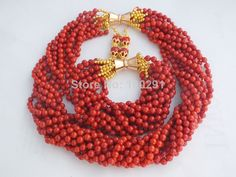 MN-2399 Surprising Red Coral Jewelry Set, Nigerian Wedding Bridal Jewelry 10rows $62.37