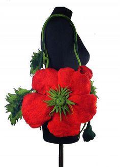 Felted   Poppy Bag  Nunofelt Nuno felt Silk Eco handmade fairy multicolor floral fantasy  Fiber Art boho