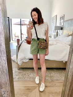 Im wearing @sezane shorts and blouse and @fredasalvador eda tennies and @clarevofficial bag www.artinthefind.com Gal Meets Glam, Sequin Top, Feminine Style, Short Dresses, Shorts, Blouse, Sneakers, How To Wear, Clothes