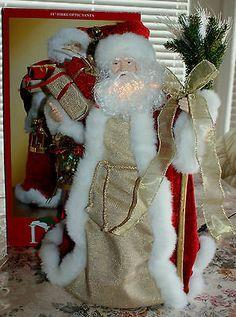 lighted santa christmas tree topper fibre fiber optic santa claus christmas tree - Santa Christmas Tree Topper