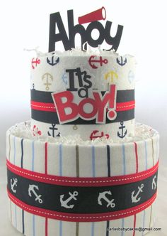 Nautical diaper cake Baby shower decoration by MsCarlasBabyCakes