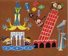 Mediterranean Vista by Mary Blair 1963 It's a Small World Greeting Card Mary Blair, Disney Artists, Disney Posters, Travel Posters, Movie Posters, Children's Book Illustration, Digital Illustration, Modern Graphic Design, Small World