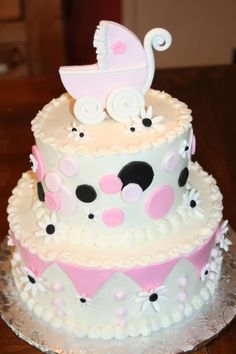 baby buggy and daisy baby cake