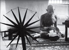 Gandhi and the Spinning Wheel by Margaret Bourke-White.
