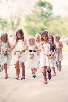a whole gaggle of sweet flower girls