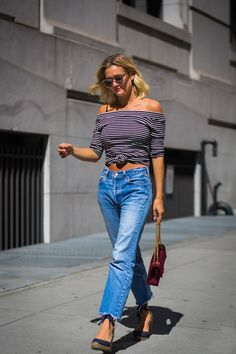 The Jeans To Wear Now!  Take a break from your skinny's with crop flare jeans.  We'll show you how to style them! @ acheekylifestyle.com by Val Banderman