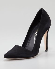 Love the cut of these Alice + Olivia Dina Suede Pointed-Toe Pumps