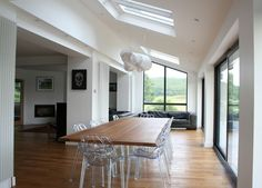 Image result for image of open plan living with external flue from single storey roof
