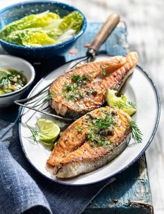 This salmon steak recipe from Linda Tubby and Sainsbury's magazine is perfect summer barbecue food; the caper and anchovy salsa works beautifully with the fish Salmon Steak Recipes, Fish Recipes, Seafood Recipes, Cooking Recipes, Healthy Recipes, Uk Recipes, Barbecue Recipes, Fish Dishes, Savoury Dishes