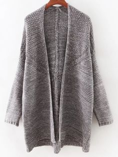 Open Front Batwing Cardigan - GRAY ONE SIZE(FIT SIZE XS TO M)