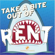 """Branded graphic our creative team designed to promote the """"Take a Bite Out of Rent"""" promotion that our Arizona student housing client is running during their Shark Month! #socialmedia #SharkMonth #brandedgraphic #studenthousing #marketing"""