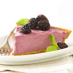 Serve this frozen Black Raspberry Cream Pie at your summer cookout! Recipe: http://www.bhg.com/recipe/desserts/black-raspberry-cream-pie/?socsrc=bhgpin060412