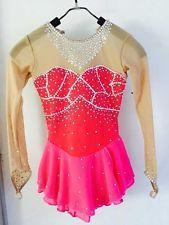 custom figure skating dress spandex pink ice dress competition woman yike