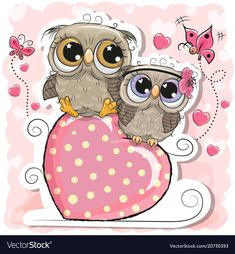 Two Owls is sitting on a heart on a pink background. Two Cute Owls is sitting on a heart on a pink background royalty free illustration Owl Pictures, Creative Pictures, Pictures To Draw, Owl Cartoon, Cute Cartoon, Owl Art, Bird Art, Tole Painting Patterns, Christmas Owls