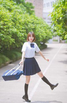Japanese School Uniform Girl, Japanese High School, Cute School Uniforms, Brown Loafers, High School Girls, Skater Skirt, Super Cute, Ballet Skirt, Asian