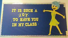 This is my personal classroom bulletin board. Please give credit if you repost. Wanted to share because I haven't seen any Inside Out inspired bulletin boards yet.still a work in progress, but proud of how it turned out!-Megan D. Disney Bulletin Boards, Bulletin Board Design, Teacher Bulletin Boards, Preschool Bulletin Boards, Disney Classroom, Music Classroom, Future Classroom, Classroom Themes, Classroom Door