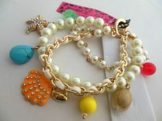 Betsey Johnson scallops starfish conch pearl multi-element multilayer bracelet
