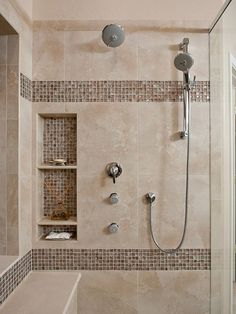 Bathroom: Bathroom Shower Tile Designs You May Choose From The Templates Provided The Favored Amazing Bathroom Design You Want 1 Master Bathroom Shower, Shower Niche, Bathroom Wall Decor, Bathroom Interior, Small Bathroom, Shower Remodel, Bath Remodel, Ideas Baños, Tile Ideas