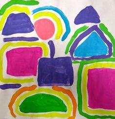 Cassie Stephens: In the Art Room: A Unit on Shape for Kindergarten, Part 1 Kindergarten Art Lessons, Art Lessons For Kids, Art Activities For Kids, Art Lessons Elementary, Preschool Art, Art For Kids, Grade 1 Art, First Grade Art, Kindergarden Art