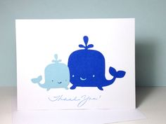 Whale Baby Shower Thank You Card Set Thank You Cards, Blue Whale Mommy and Baby Whale Thank You Cards, Blue Baby Boy Thank You Cards by DesigningMoments on Etsy https://www.etsy.com/listing/118727577/whale-baby-shower-thank-you-card-set
