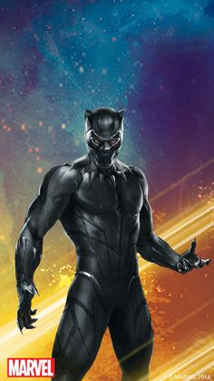 An image of Black Panther with a colorful background. The red Marvel logo is on the bottom left corner. An image of Black Panther with a colorful background. The red Marvel logo is on the bottom left corner. Marvel Logo, Marvel Comics, Marvel Dc, Mundo Marvel, Marvel Heroes, Marvel Studios Logo, Black Panther Marvel, Black Panther King, Marvel Infinity