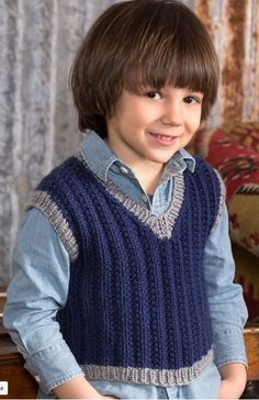 Free Knitting Pattern for Boy's Seeded Rib Vest - Jodi Lewanda's classic boy's vest also has a matching adult vest for dad. Child sizes: 2,4,6,8 years
