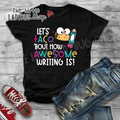 You will love this Funny Teacher Tee- Let's Taco 'bout How Awesome Writing Is T-Shirt. All of these teacher tees have been created by a classroom teacher and are great quality and unique! You will love wearing these tees to school! #teacherstyle #teachertee #teacherlife #iloveteaching #tacoteacher #tacobout #writingteacher #teacherhumor