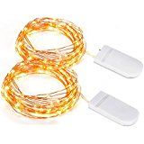 Copper Wire Light 2 Set of Micro 30 LEDs Super Bright Starry string Light Battery Operated on 9.8 Ft Long Rope... christmas deals week
