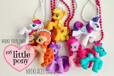 diy ♥ my little pony necklaces: perfect gift or party favor. My daughter is freaking over these! ;)