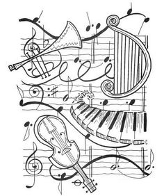 Resultado de imagem para music coloring pages for adults Coloring Book Pages, Printable Coloring Pages, Coloring Sheets, Music Drawings, Digi Stamps, Copics, Music Notes, Art Music, Art Lessons