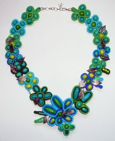 Handmade Soutache necklace - Turquoise Meadow - blue, green , silver by IzabelaCichocka on Etsy https://www.etsy.com/listing/222974688/handmade-soutache-necklace-turquoise