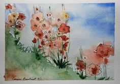 Watercolor art painting Spring abstract flowers coral by ssbaud, $30.00