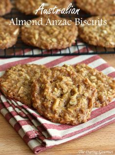 Australian Almond Anzac Biscuits (Cookies) / These #cookies were made during World World I by Australian wives for their soldiers overseas. They were made without eggs so they would endure the long shipping time. daringgourmet.com