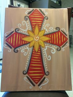 Cross painting done on canvas.