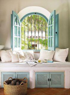 House of Turquoise: Linda and Martin Bradbury, window seat--love the window and shutters Interior Exterior, Interior Design, Kitchen Interior, Modern Interior, Interior Doors, Kitchen Designs, Interior Ideas, Interior Inspiration, House Of Turquoise