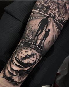 Amazing artist Dario Castillo awesome compass rose dad and his kid nature walk arm tattoo! Tattoo Arm Mann, A Tattoo, Tattoo For Son, Tattoos For Kids, Tattoos For Daughters, Tattoo Baby, Forearm Sleeve Tattoos, Best Sleeve Tattoos, Tattoo Sleeve Designs