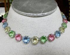 Vintage Open Back Bezel Pastel Crystal Choker Necklace #NotSigned #Choker