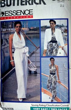 "Vintage 80's Butterick 3934 Sewing Pattern, Misses Jacket, Jumpsuit and Sash, Plus Size 22, Bust 44"", Sexy 1980's Fashion, Uncut FF"