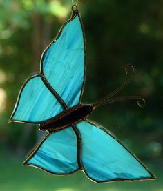 ICE BLUE, ROYAL PURPLE BUTTERFLY stained glass LEADLIGHT suncatcher lightcatcher HAND CRAFTED & MADE ON THE DARLING DOWNS, QLD, AUSTRALIA...$16
