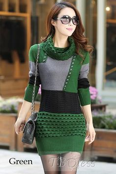2d464f8aa5 High Neck Long Sleeve Women s Sweater Dress http   www.tbdress.com