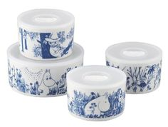 Moomin Valley Porcelain Oven Safe Storage Containers Set of 4 Yamaka MM170-82-4