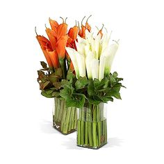 """Calla Lily Bouquets: The centuries-old Calla Lilly is one of the most unique and beautiful flowers. New Growth Designs has arranged two dozen lovely faux Calla Lillies with Galax leaf in an 8"""" mouth-blown glass column vase with clear acrylic """"water"""". 21"""" high. A dramatic addition to any room. Please select white or orange."""