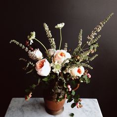 Striking blush blooms + tall, dark greens | Yasmine Floral Designs | by Yasmine Mei, Los Angeles floral designer